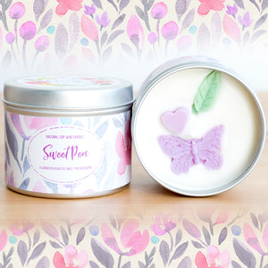 Sweet Pea Natural Soy Wax Candle - Standard Size (8oz)