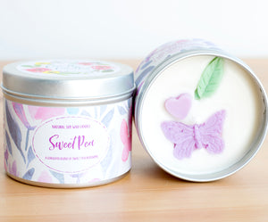 SALE - Sweet Pea Natural Soy Wax Candle - Large Size (12oz)