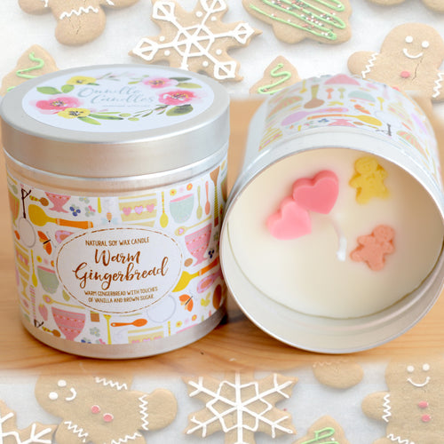 Warm Gingerbread Natural Soy Wax Candle - Large Size (12oz)