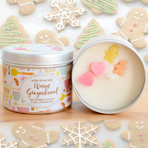 Warm Gingerbread Natural Soy Wax Candle - Standard Size (8oz)
