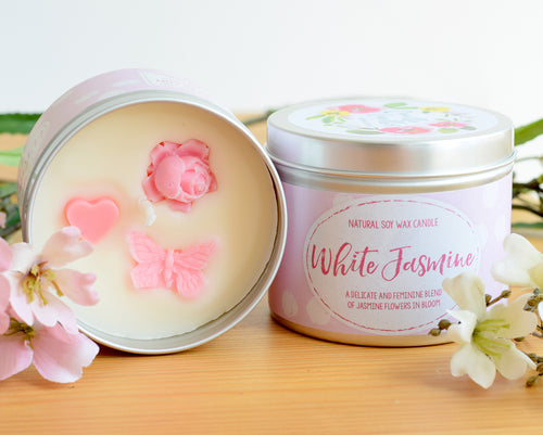White Jasmine Natural Soy Wax Candle - Large Size (12oz)