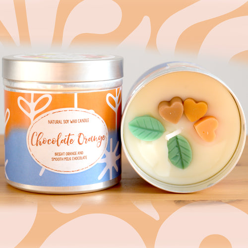 Chocolate Orange Natural Soy Wax Candle - Large Size (12oz)