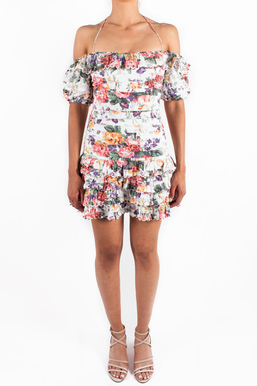 Allia Pintuck Short Dress White Floral Front