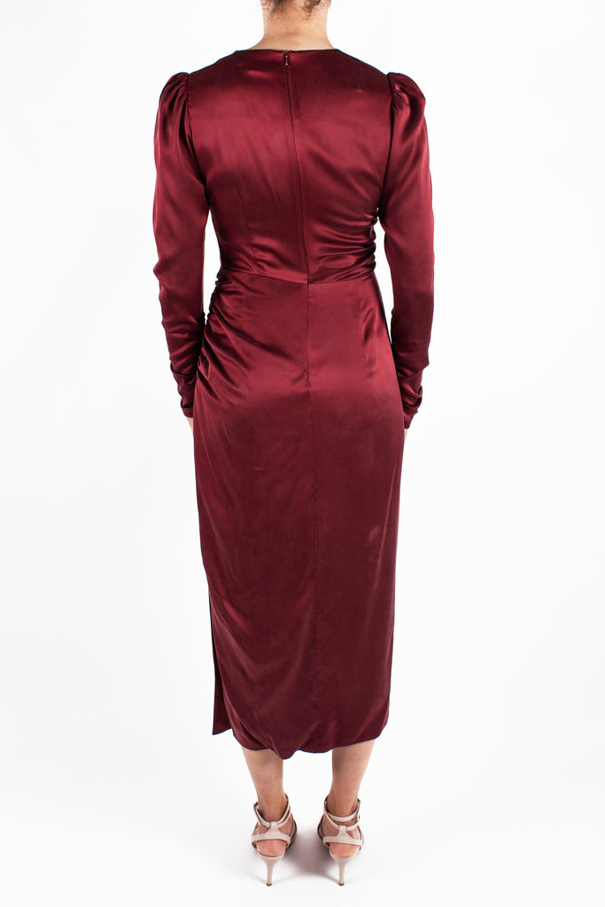 Draped Dress Garnet Back