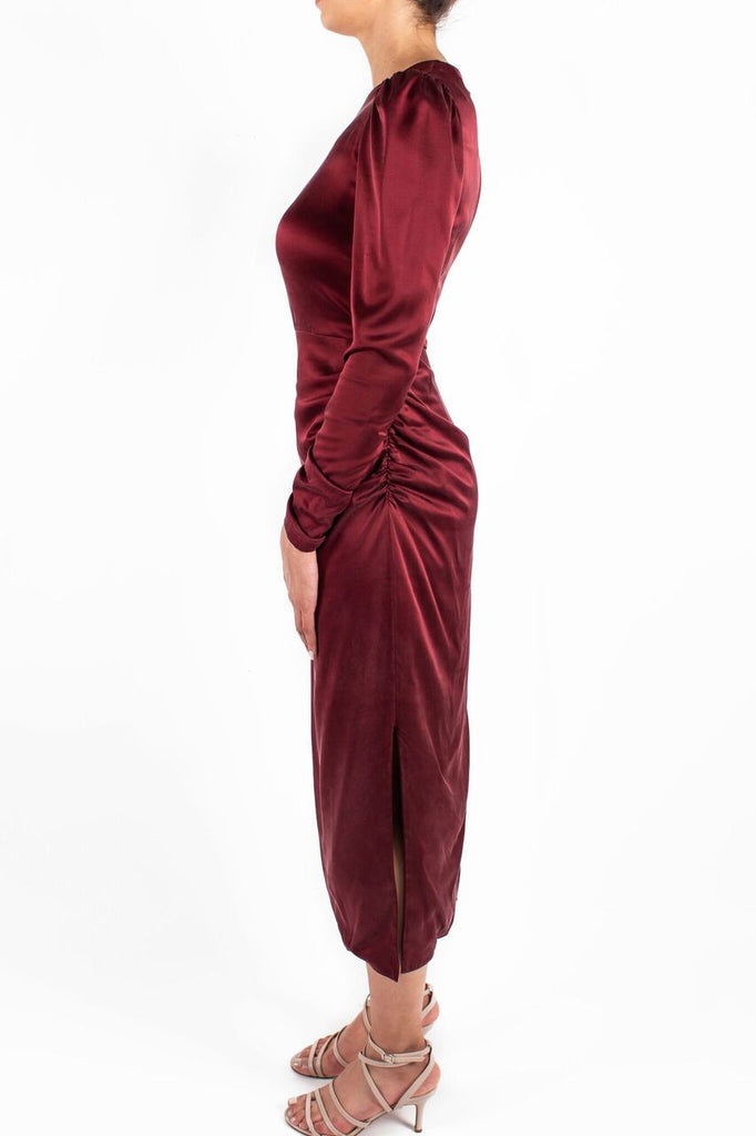 Draped Dress Garnet Side
