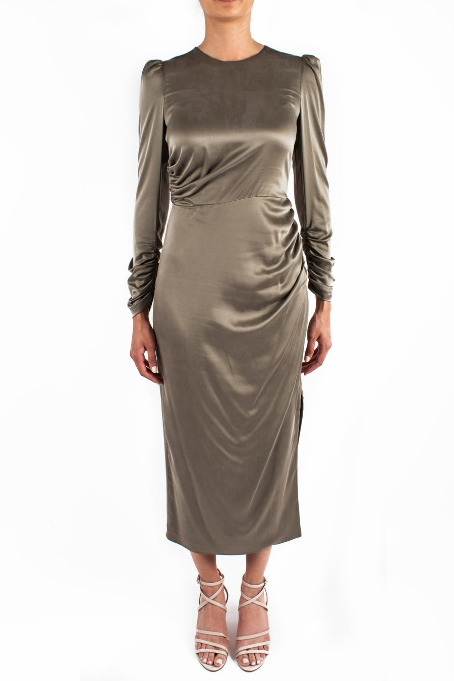 Draped Dress Olive Front