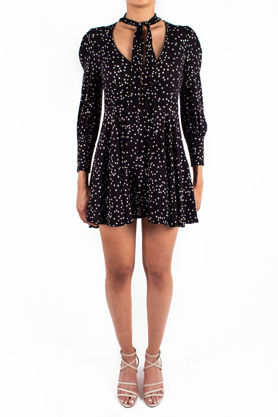Empire Swing Dress Black Confetti Front