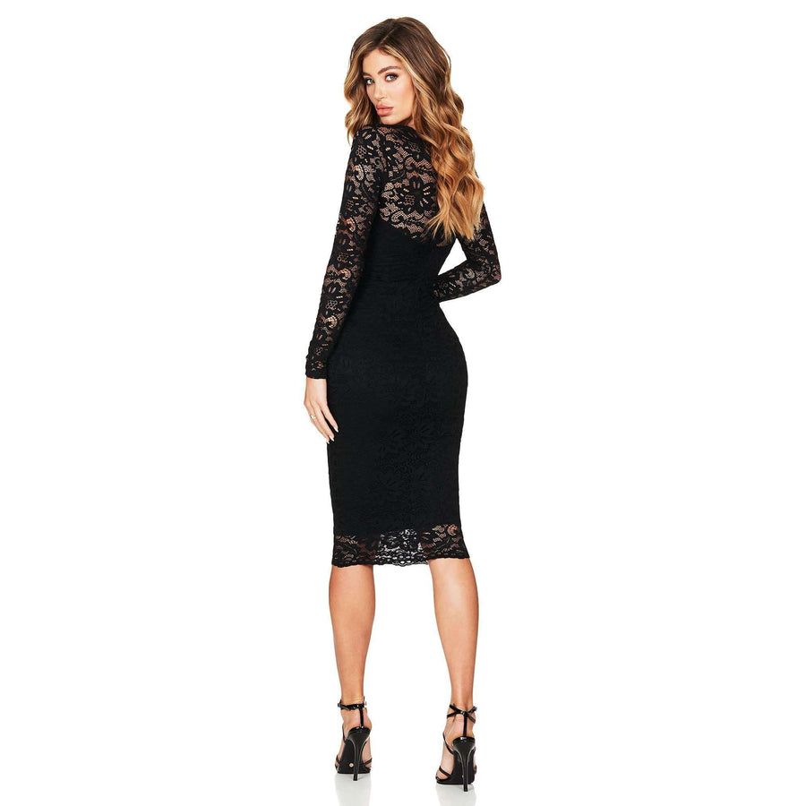 Romance Long Sleeve Midi Black