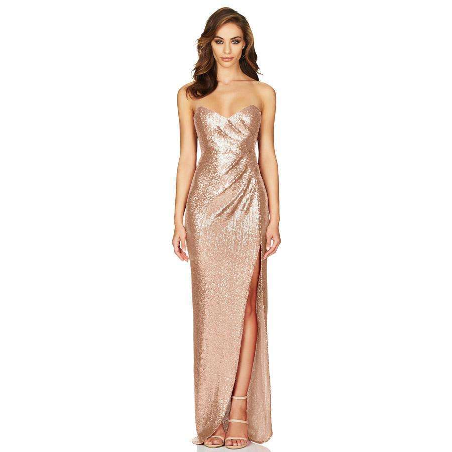 Adele Sequin Gown Champagne