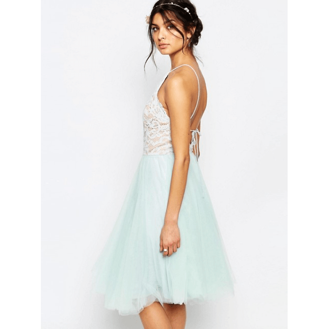 Edie Tulle Lace Halter Dress