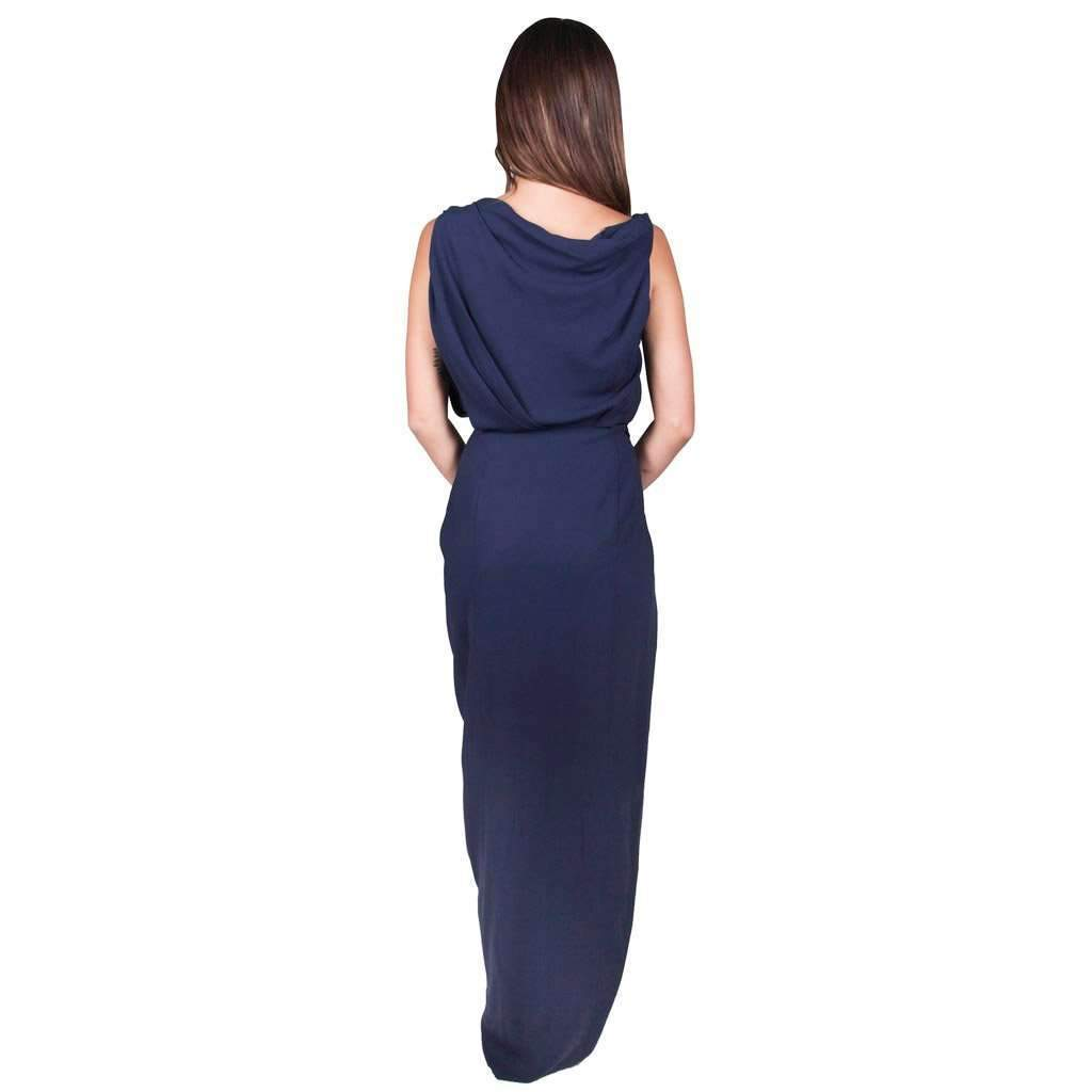 Draped Silk Dress Navy
