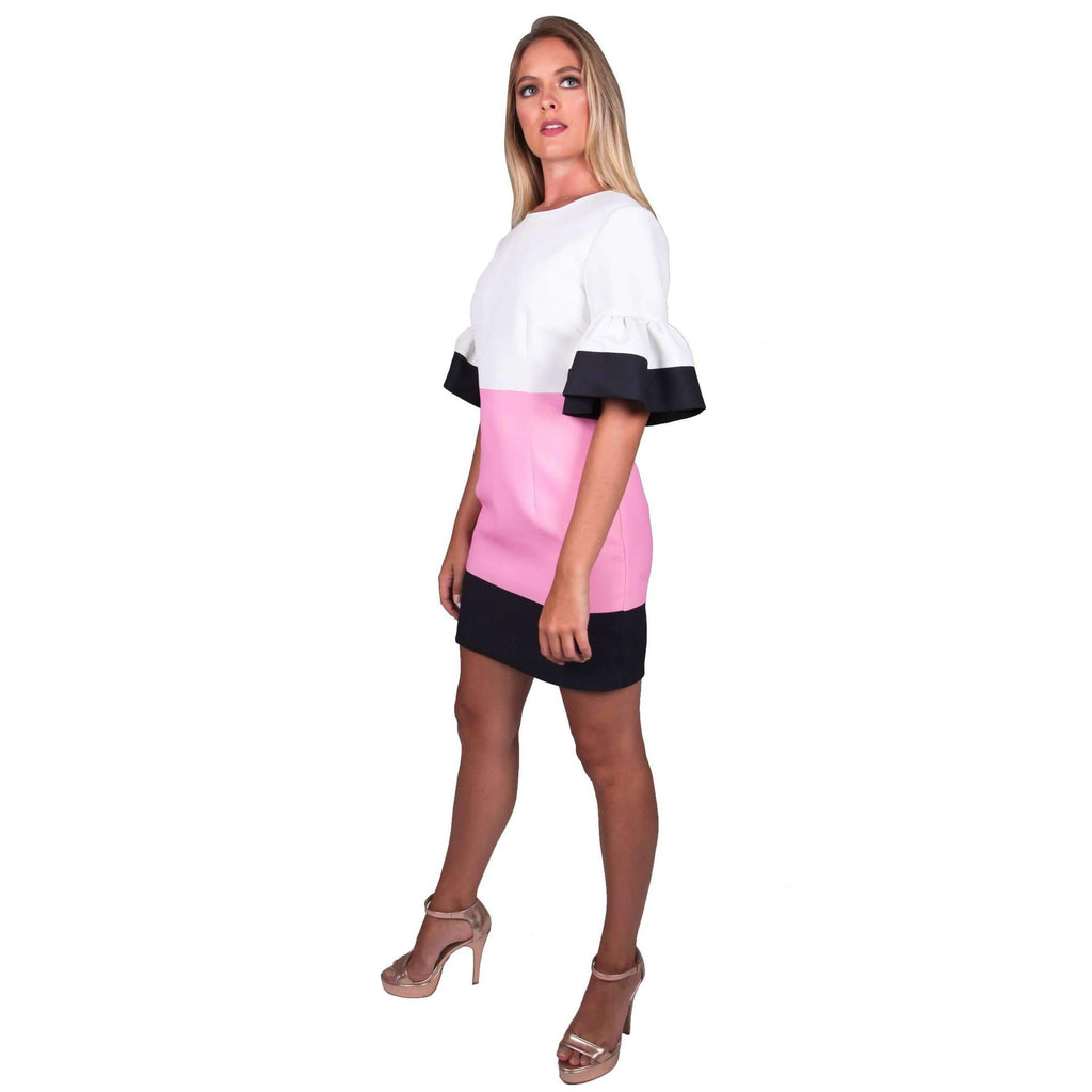 Pink Borderline Mini Shift Dress