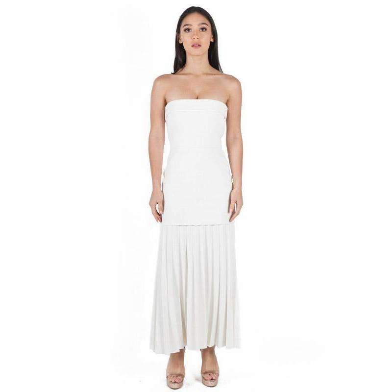 Linear Crepe Pleat Strapless Dress White