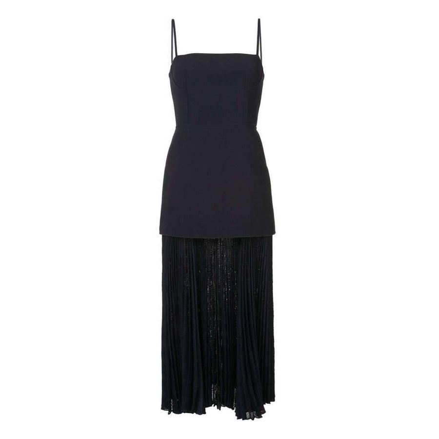 Mesh Pleat Long Dress Navy