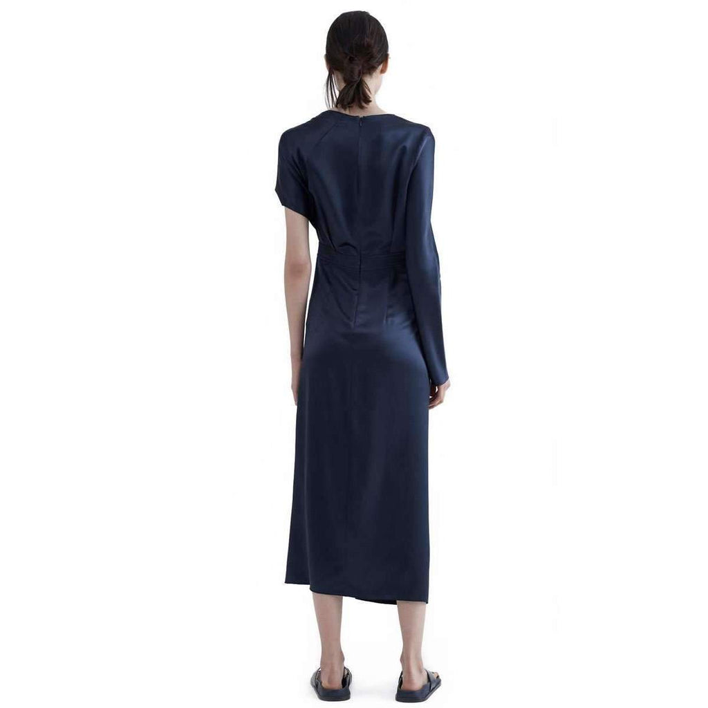 Satin Knot Dress Navy