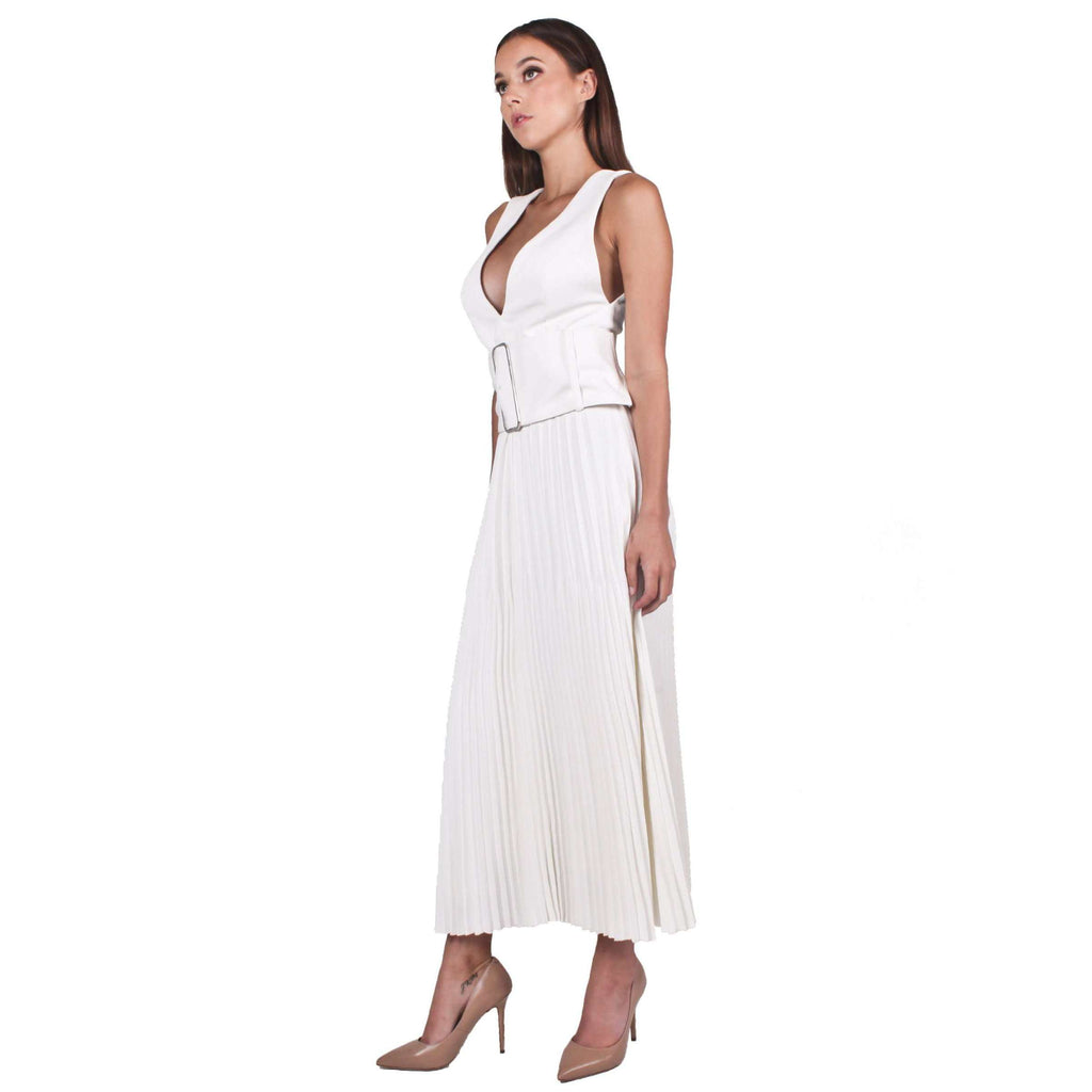 Trapeze Pleat Dress With Trench Belt