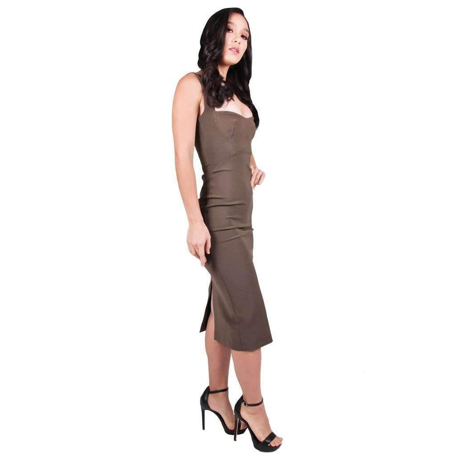 Utility Bustier Dress Khaki