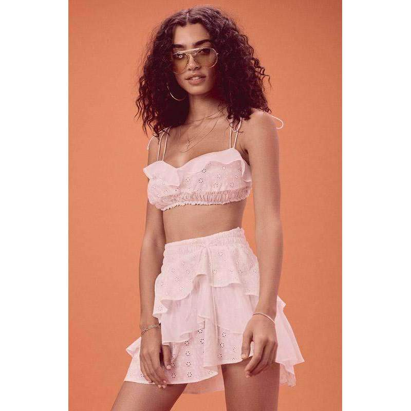 Bora Bora Ruffle Crop and Skirt Set White