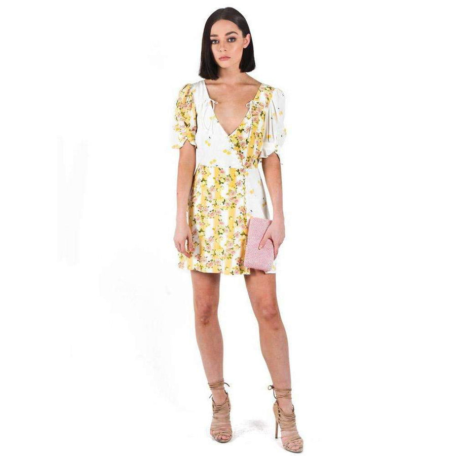 Savannah Wrap Mini Dress Buttercreme