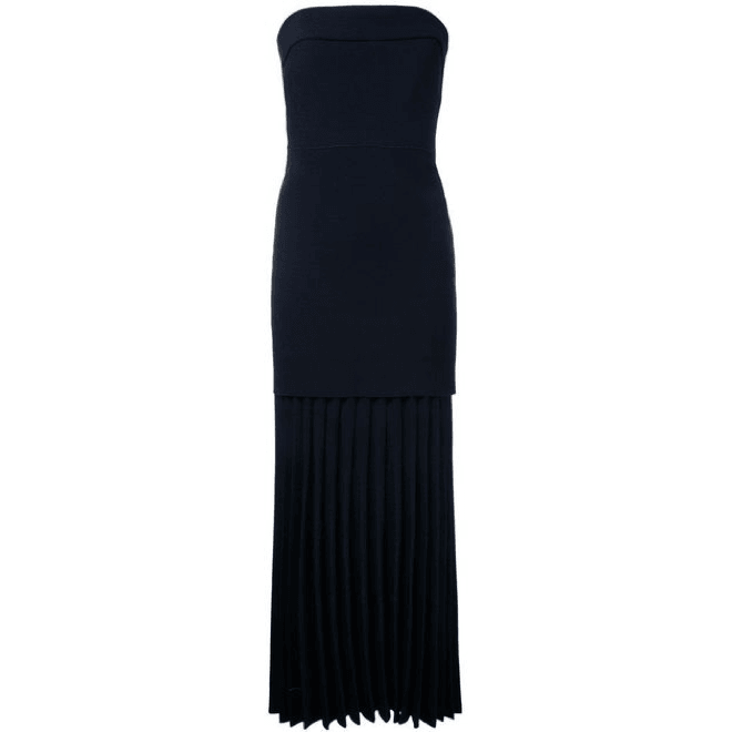 Linear Crepe Pleat Strapless Dress Navy