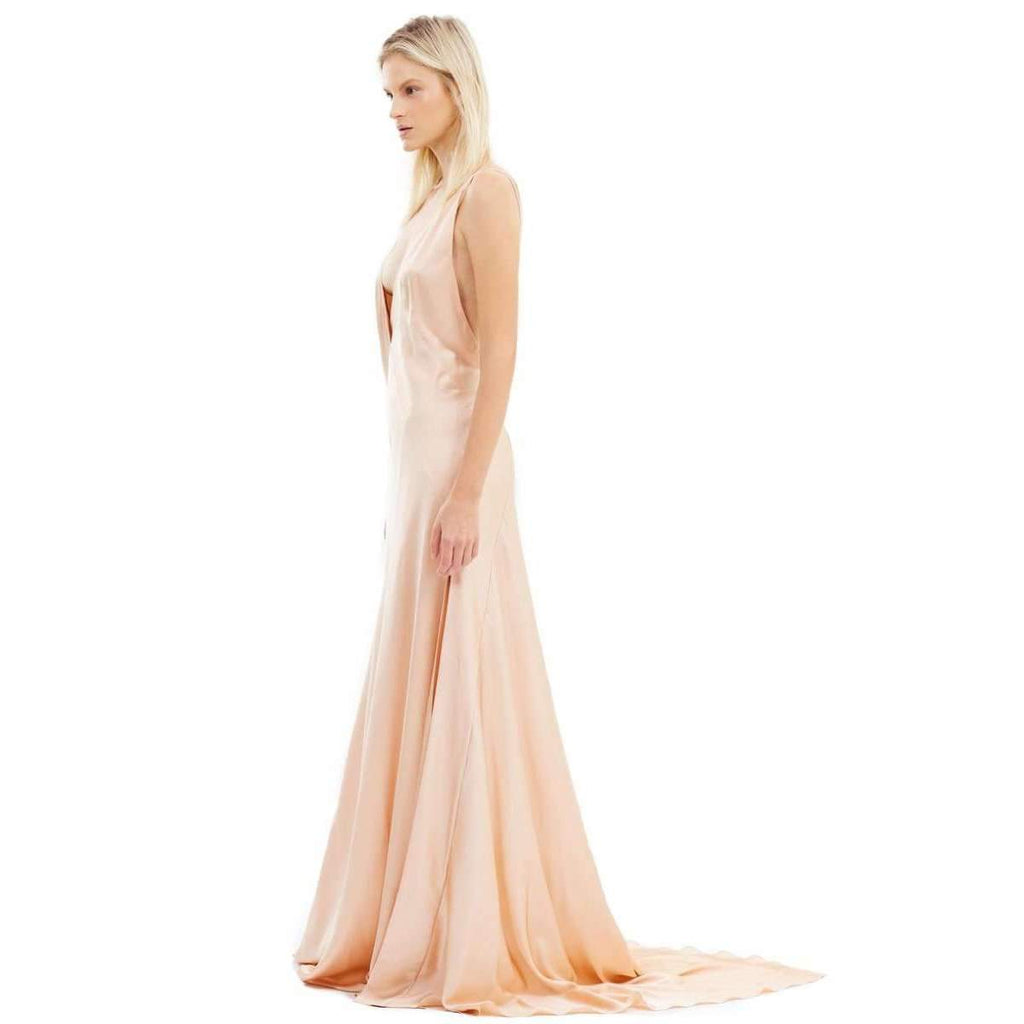 Alexandra Silk-Satin Maxi Dress Nude