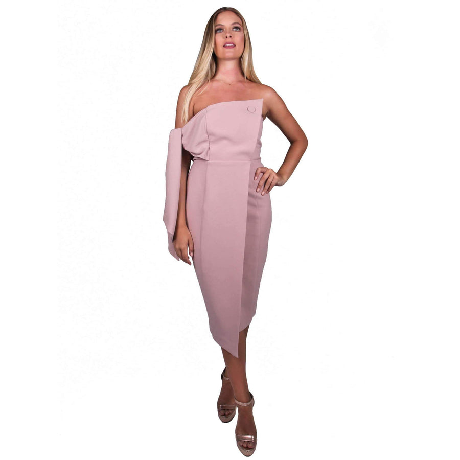Romi Structured Midi Dress Blush