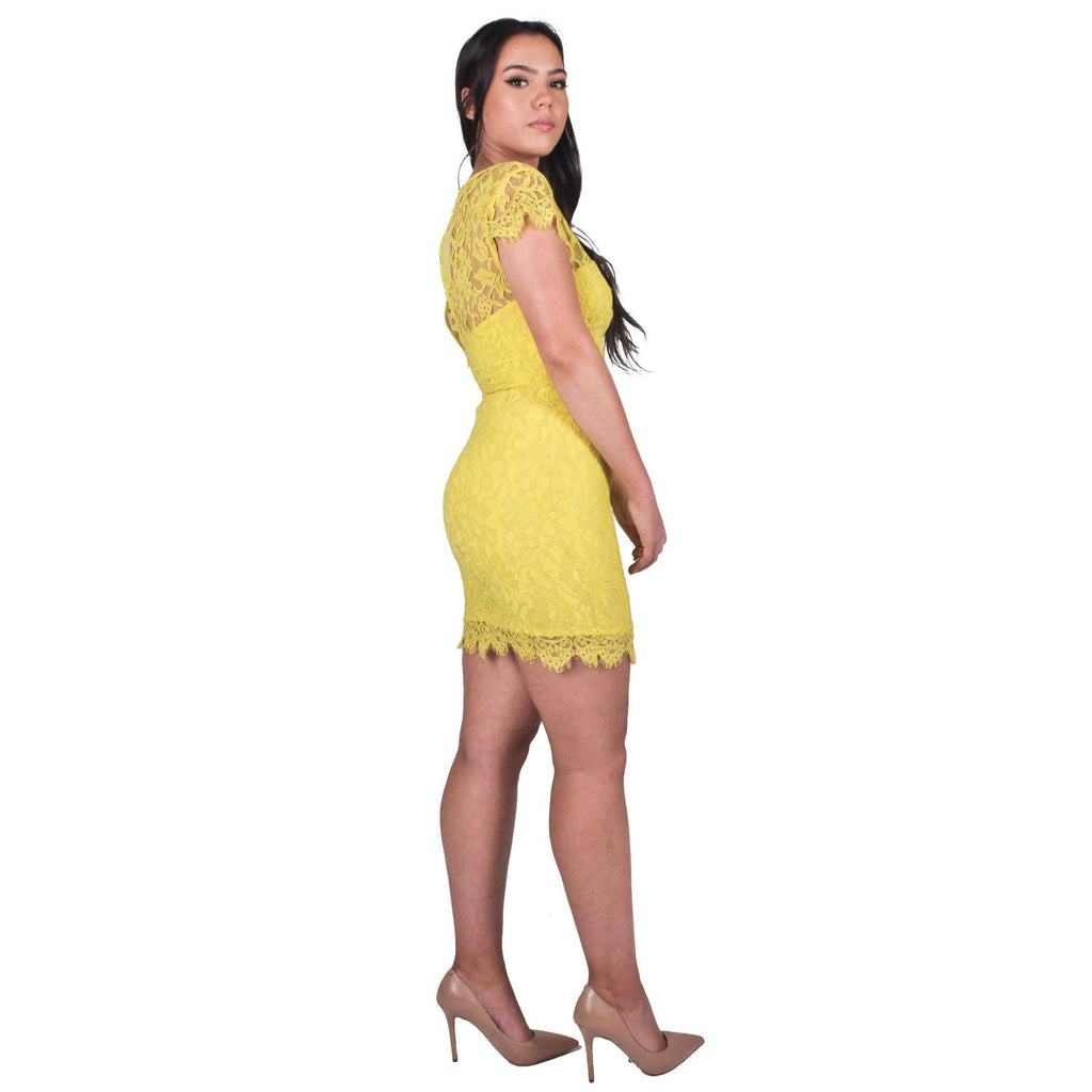 Cap Sleeve Lace Dress Neon