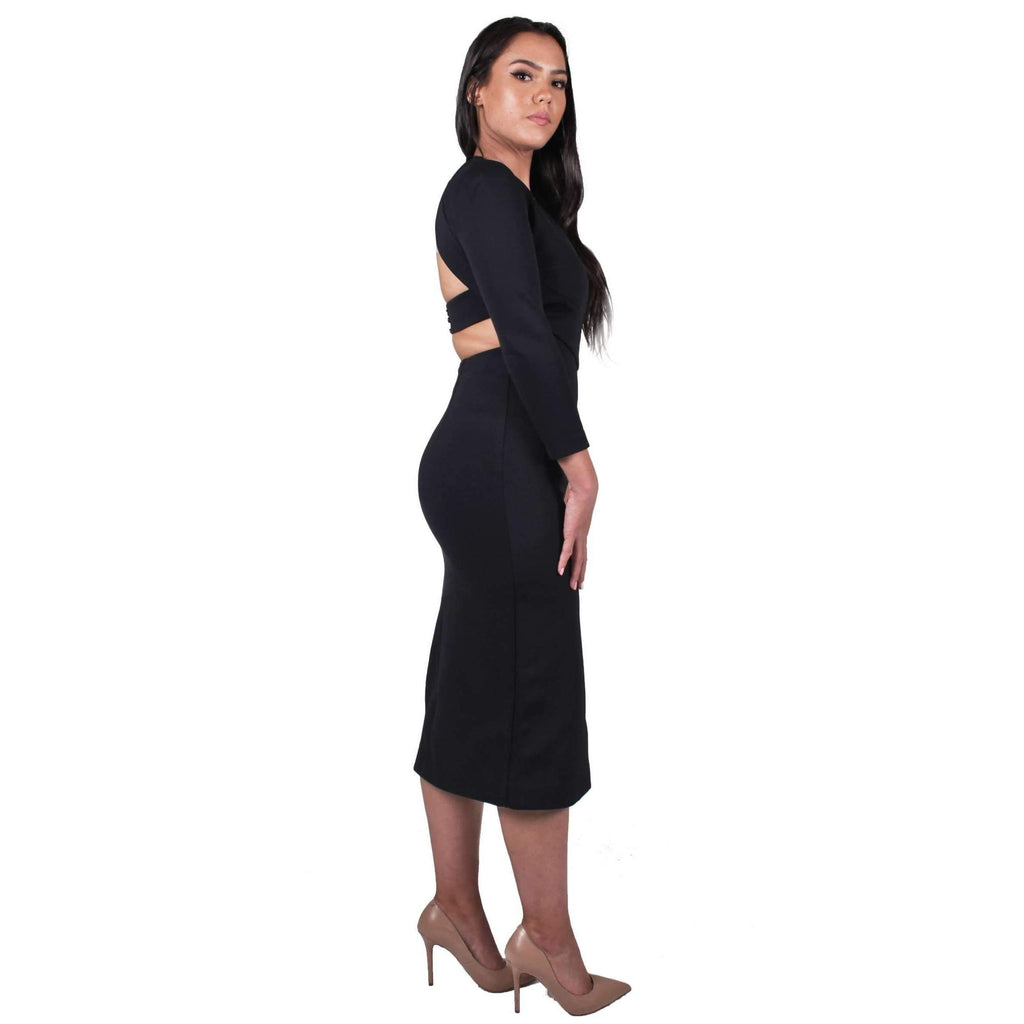 Long-Sleeve Cut Out Bandage Dress