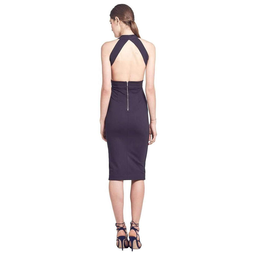 Navy Ponti Wrap Halter Dress
