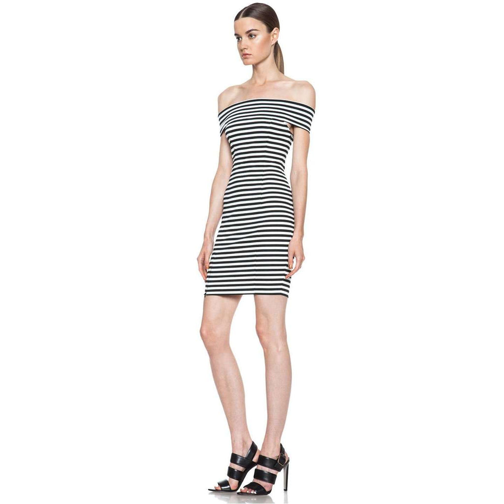 Stripe Ponti Off-the-shoulder Dress