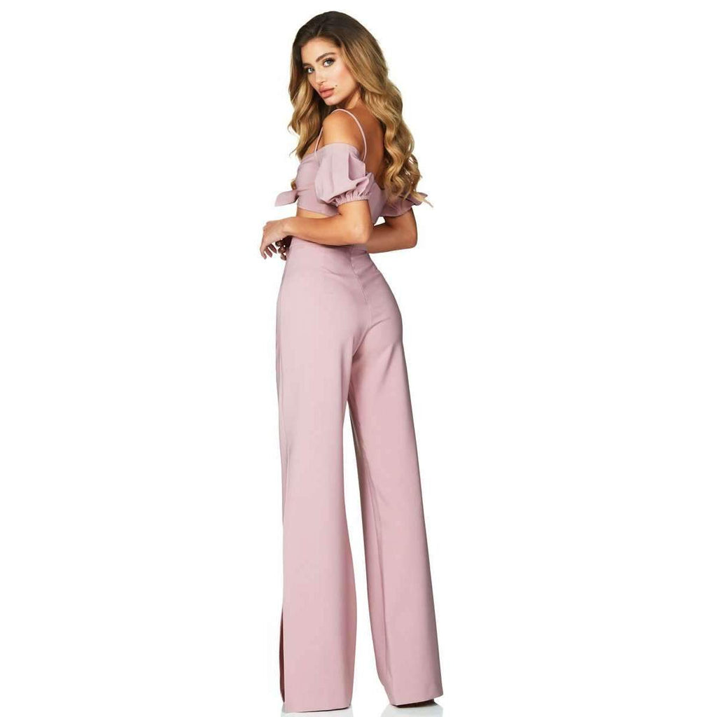 Belle Crop High Waist Pant Set Dusty Pink