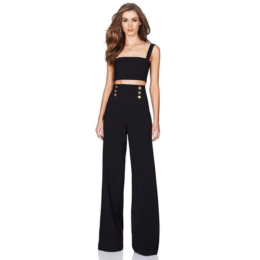 Milano Crop Pant Set Black