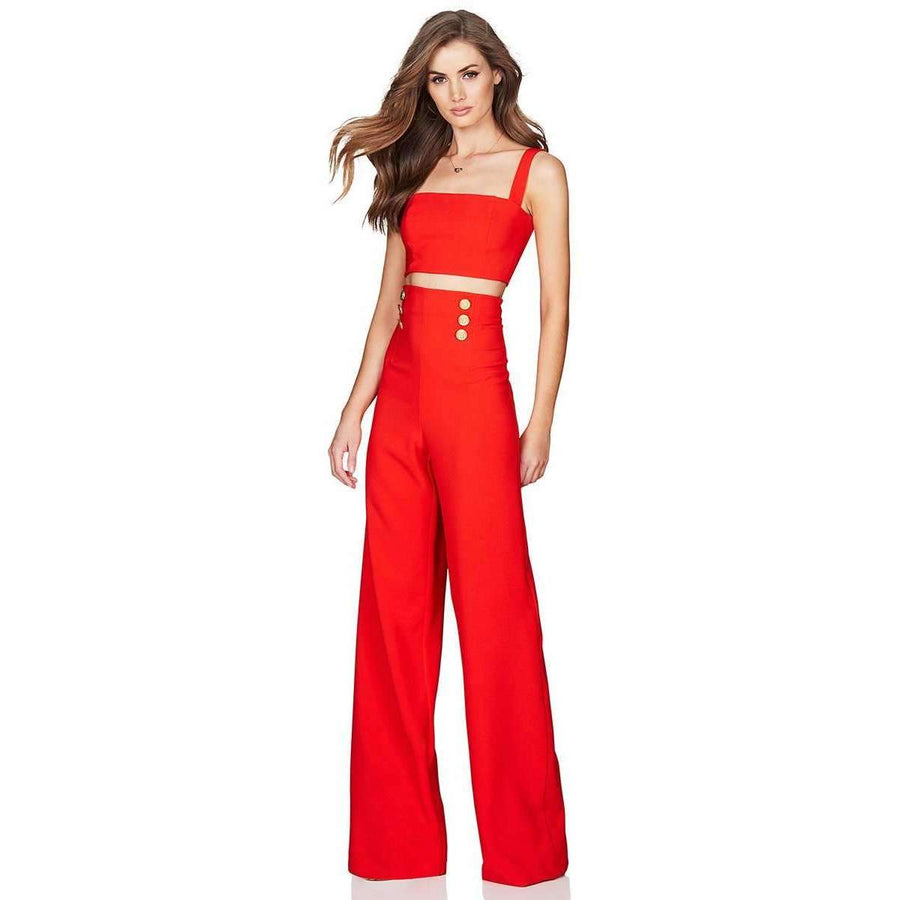 Milano Crop Pant Set Orange/Red