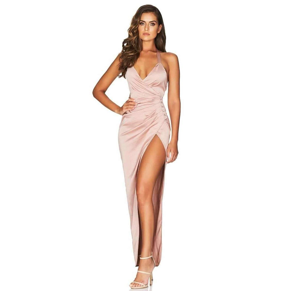 Saskia Satin Halter Gown Blush