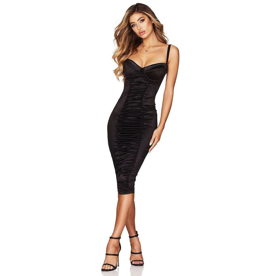 Tease Satin Midi Black