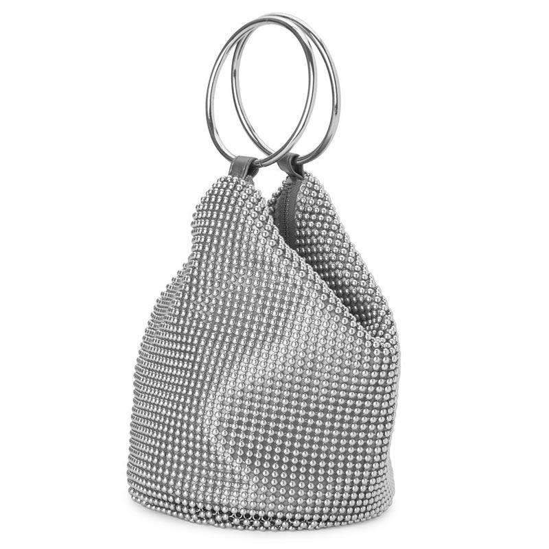 Bianca Ball Mesh Handle Bag Silver