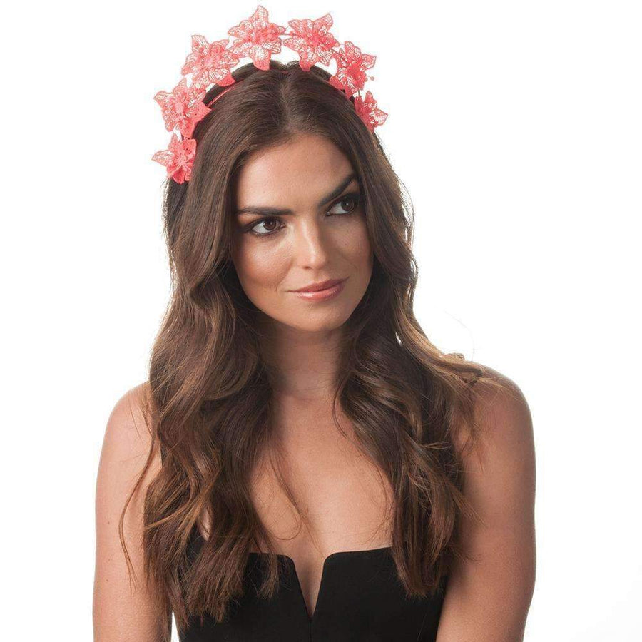 Clare Floral Headband Coral
