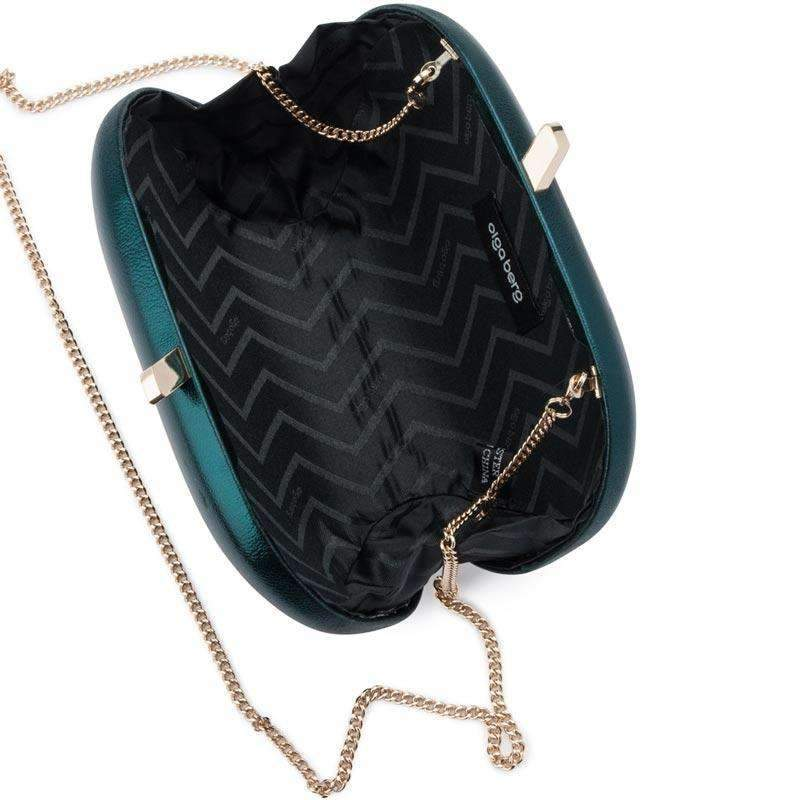 Halee Metallic Oval Clutch Emerald