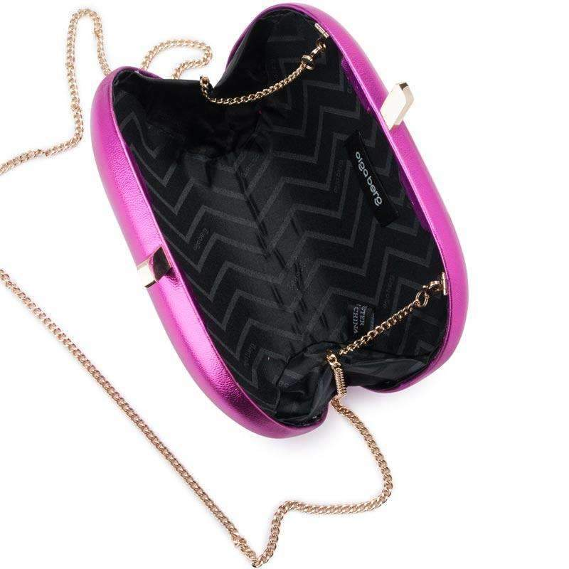 Halee Metallic Oval Clutch Magenta