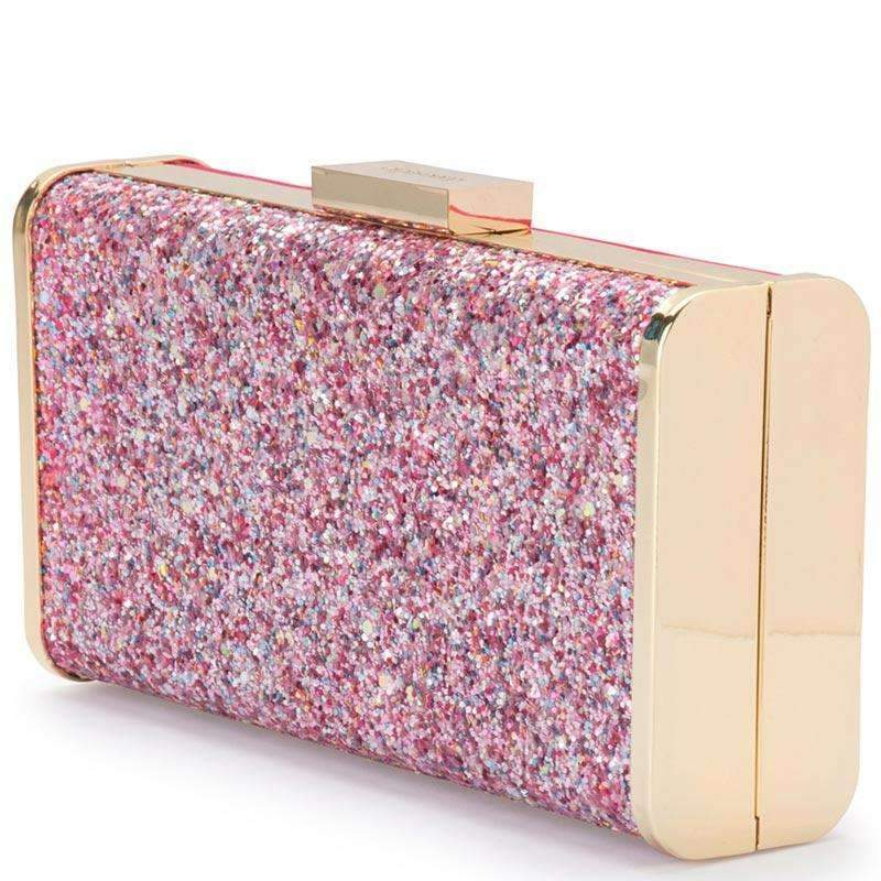 Jordana Glitter and Suede Clutch Pink