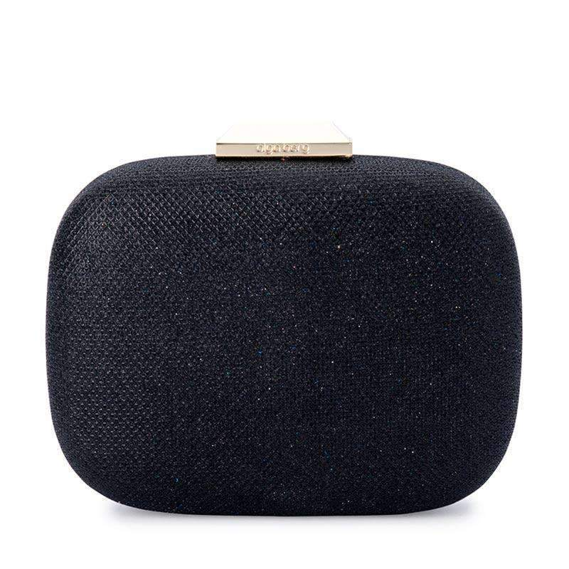 Misty Metallic Rounded Clutch Black