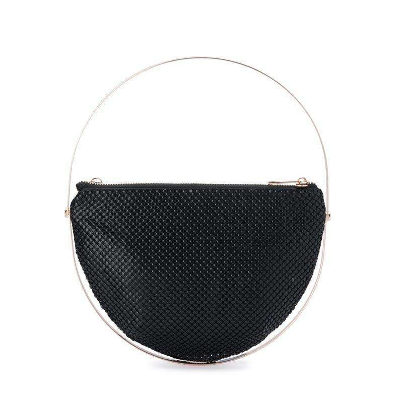 Rondella Flat Mesh Handle Bag Black