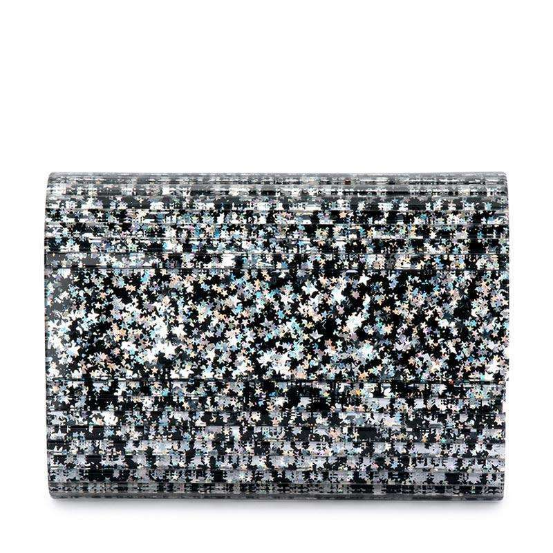 Stacer Acrylic Foldover Clutch Black