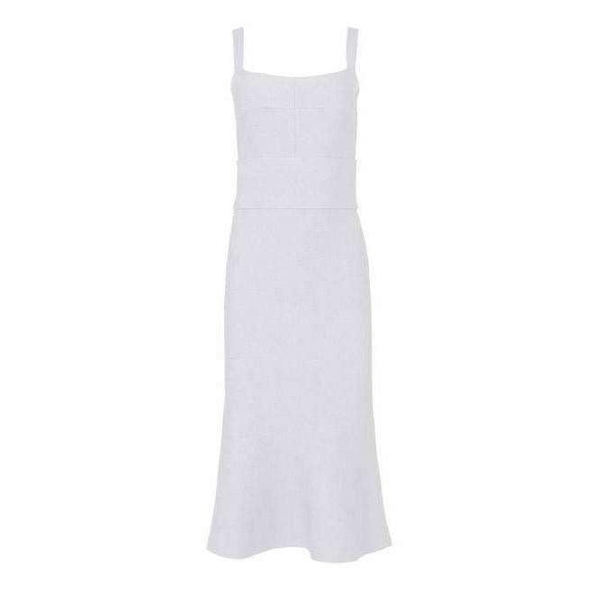 Crepe Knit Bralette Dress White