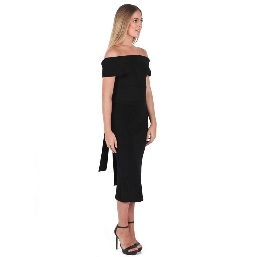Crepe Knit C/Shld Milano Dress Black