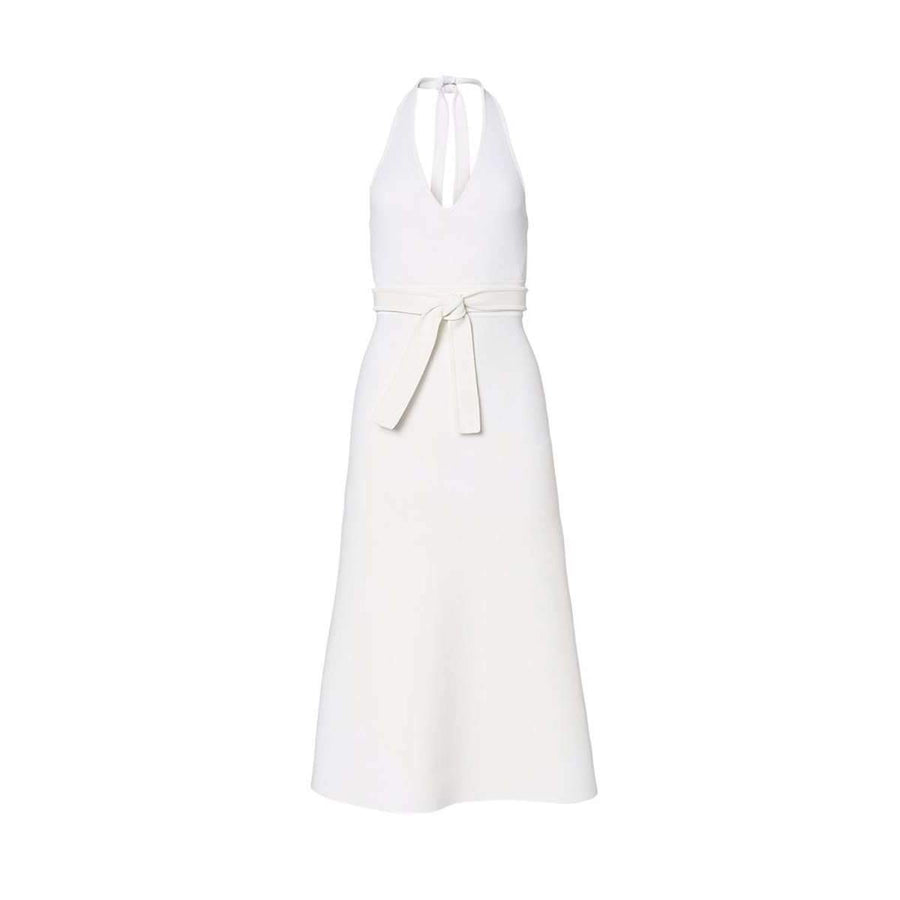 Crepe Knit Halter Dress Cream