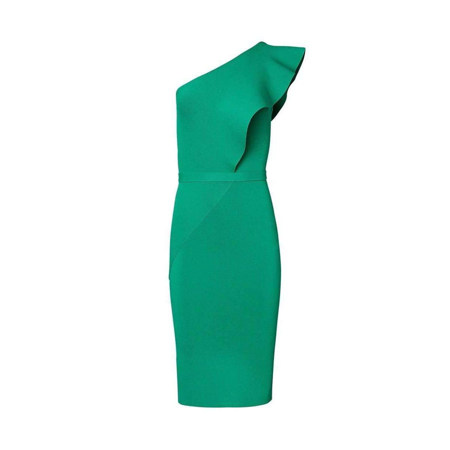 Crepe Knit Ruffle Dress Green