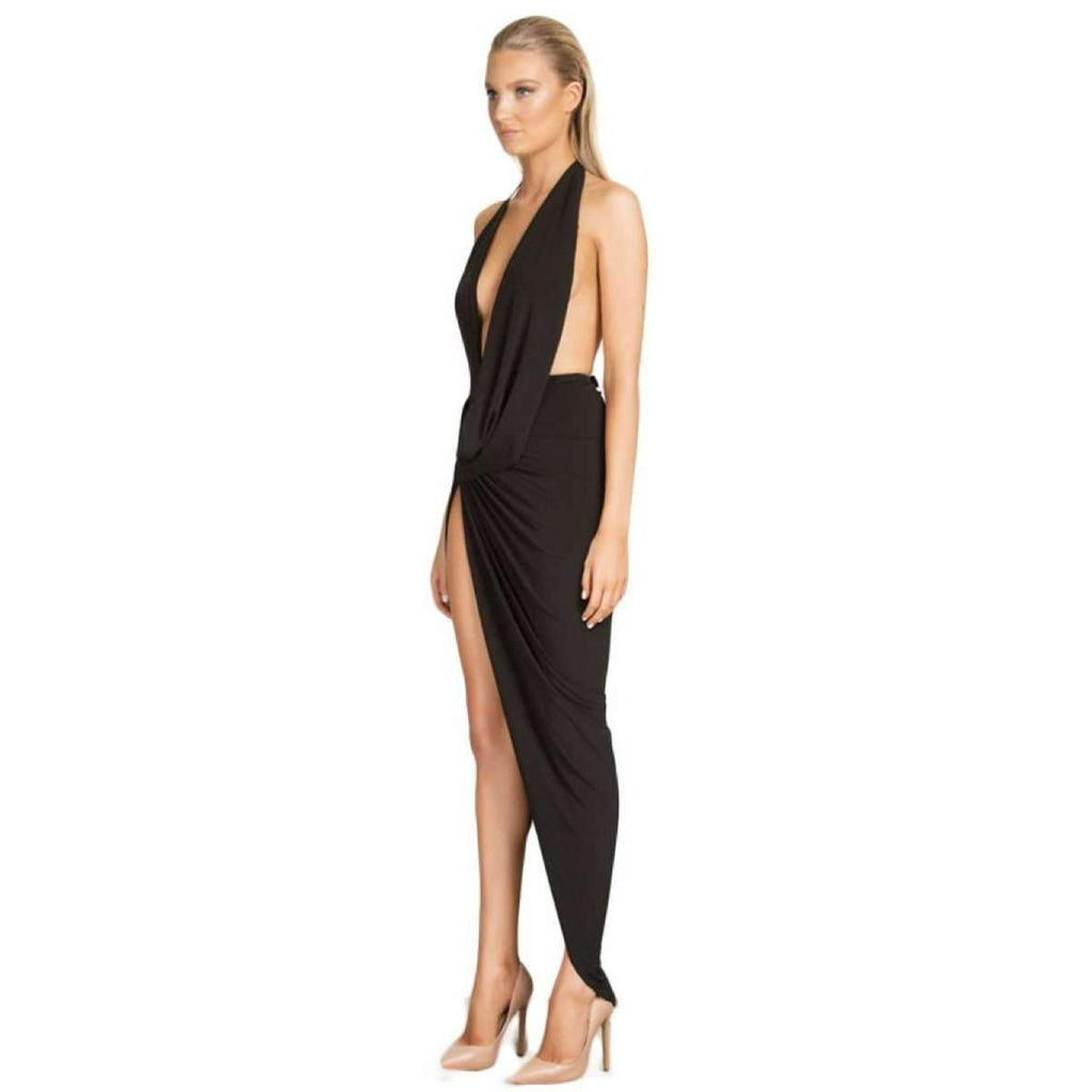 Foreli Back Drape Formal Gown Black