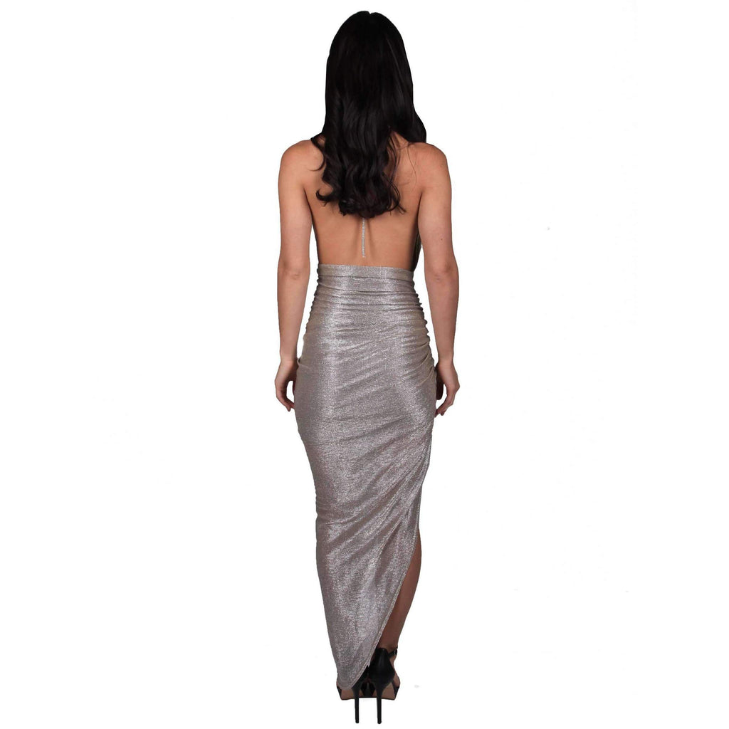 Foreli Back Drape Formal Gown Gold