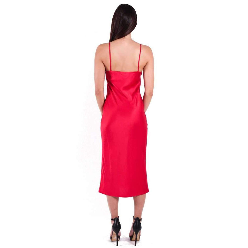 Adonis Bias Slip Midi Dress Ruby